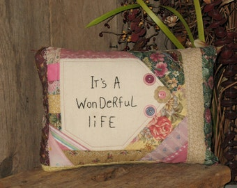 It's a Wonderful Life Quilted Pillow, Shabby Chic Decor