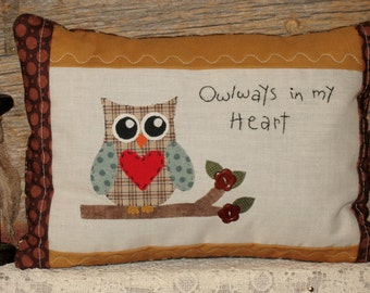 Rustic Owl Pillow - Owlways in My Heart