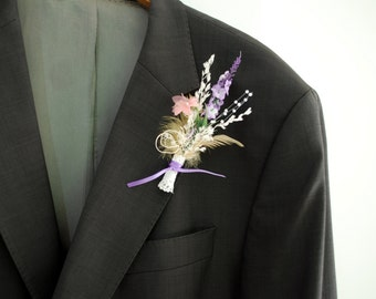 lavender dream, weddings accessories, grooms boutonniere, groomsmen pin, bridesmaids brooch, nature, pastel,  country farm wedding