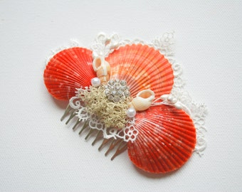 Beach Weddings Bridal Sea Shells Comb, Nautical Hawaiian Weddings Hair Accessories, Bridal Seashells Headpiece, Ocean, Sea, Shells