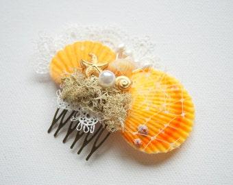 Beach Weddings Bridal Sea Shells Comb, Nautical Hawaiian Weddings Hair Accessories, Bridal Seashells Headpiece, Ocean, Yellow Orange