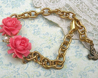 simple coral rose bracelet assemblage upcycled vintage jewelry summer romance garden cute sweet demure