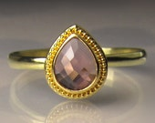 Pink Sapphire Ring, Pink Sapphire Engagement Ring, 22k Yellow Gold Granulated Rose Cut Pink Sapphire Engagement Ring