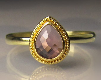 Pink Sapphire Ring, Pink Sapphire Engagement Ring, 18k and 22k Yellow Gold Granulated Rose Cut Pink Sapphire Engagement Ring