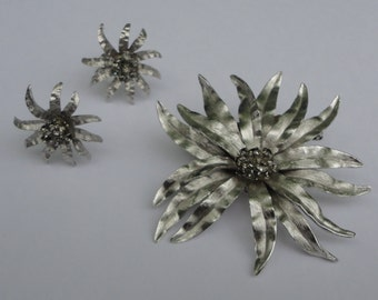 Vintage Park Lane silver tone with smokey gray rhinestones Flower Brooch and Earrings. Park Lane