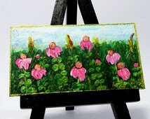 Mini Painting,Pink Wildflowers,Spring Impressionism,Magnet,Original Signed,Penny Hunt,Cubicle Art,Home Decor,Landscape Scenery,Hostess Gift