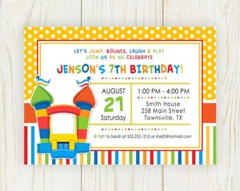 Bounce House Birthday Invitation - Digital