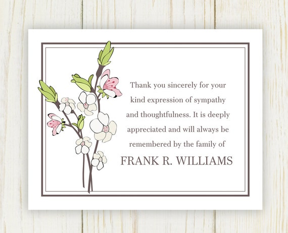 Cherry Blooms Funeral Thank You Card Digital File Sympathy