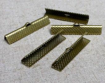 free shipping in UK - 30 pcs Antique Bronze Ribbon Crimp End Cap 35 mm