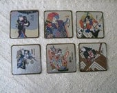 "Vintage Dining Coasters ""Kabuki"" Drama Set of 6 Coasters"