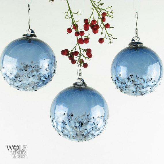 Blown glass holiday christmas tree ornament pale denim