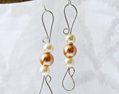 Silver Wire Wrapped Earrings with Ivory and Bronze Irridescent  Pearls