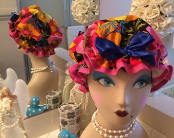 Retro Pin Up Girl style shower cap, handmade, floral, hair care, showering