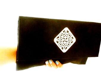 Ethnic chic black clutch , suede clutch , metal morrocan tile clutch bag , wedding clutch , evening party clutch , black silver clutch ,
