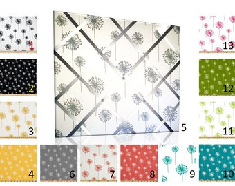 Dandelion Print French Memo Board with Ribbon 24 x 36  -  Bulletin Board - Your choice of fabric and  ribbon colors - FREE Domestic Shipping