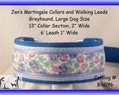 Jan's Martingales, Blue Walking Lead, Collar and Lead Combination, Greyhound, Large Dog Size, Blu096