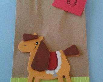horse favor bags, toddler birthday bags, childrens favor bags, farm favor bags