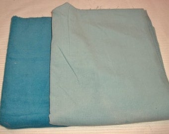 Corduroy Dark turquoise 23 x 41 great, and light blue 48x42 that has some light fading on one side 1.08 lbs