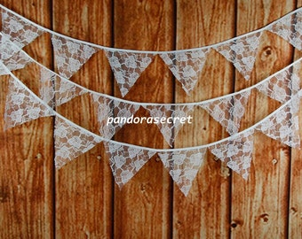 3.9M 15 flags Wedding Bunting Party Birthday Decor Wedding Decoration Photo Prop Cream Lace bunting Garland Vintage Room Decor