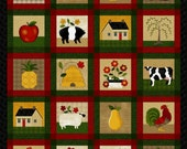 "NEW Folk Art Fabric Panel (2) 24"" x 44""  for Quilt or Craft"