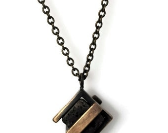 Double Square Lava-Cube Stone-Industrial Design-Cool Necklace-MJ