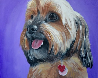Custom painted pet portrait example 8x10 size canvas Yorkie sample