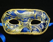 Signore Zaffiro Mask, Sapphire blue and gold Brodcade Covered Masquerade Mask with 3D Swirl and gold trim