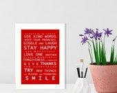 A5 unframed print Family Rules - Bus Roll Wall Art Poster print
