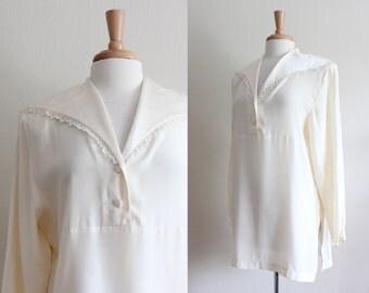 Vintage 1980s Kay Unger Ivory Silk Top