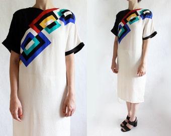 Vintage Ivory Geometric Colorblock Silk Shift Dress