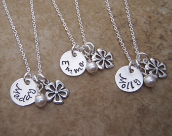 TINY Flower girl name necklace - Personalized TINY Name Disc Tag Jewelry - Little girls name necklace - Photo NOT actual size