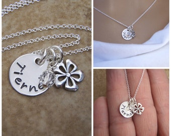 Flower Girl birthstone Necklace - Little Girl Mini Name necklace - Wedding attendant gift - Personalized sterling silver