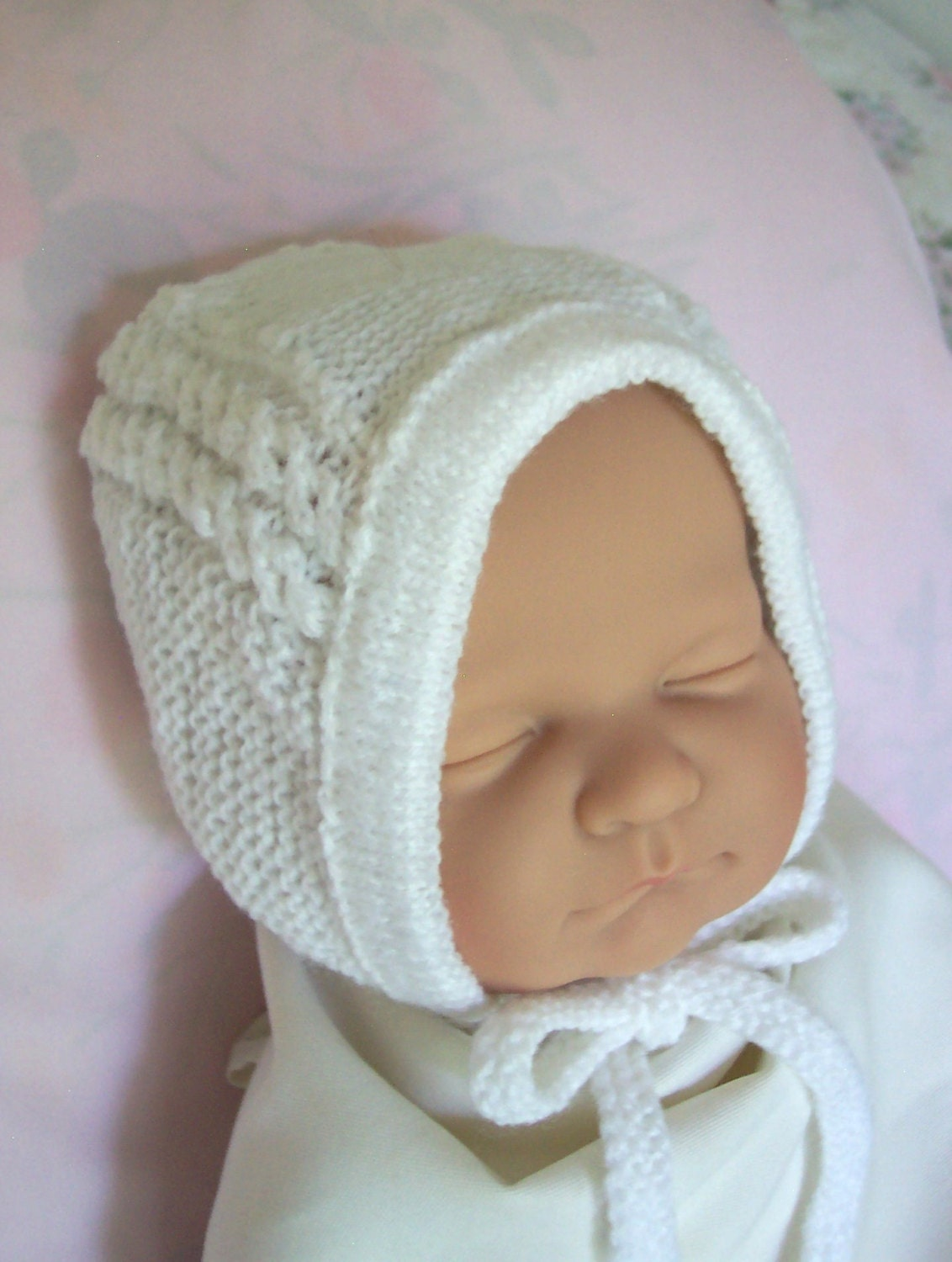 Custom handmade knit Princess Charlotte Inspired White Hat