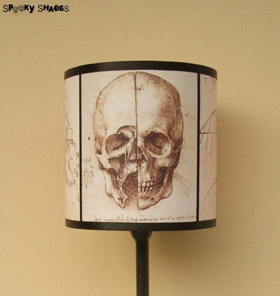 Leonardo Da Vinci Skull lamp shade lampshade by Spooky Shades - gothic decor, unique lighting , steampunk decor, anatomy