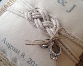 Tie the knot personalized ring bearer pillow.  Custom with nautical knot