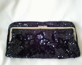 black vintage bag, black beaded bag, vintage purse, black sequin bag, black clutch bag, 60s handbag, made in hong kong