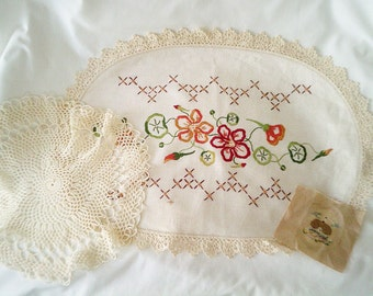 vintage linens, 3 vintage doilies, cottage embroidery, country cottage, fall colours, miniature embroidery, victorian embroidery,