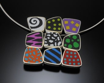 Sterling silver, polymer necklace-pin #30
