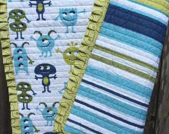 Green and Blue Baby Boy Monster Quilt Baby Shower Gift Monster Baby Bedding Pleated Geometric Ruffle Baby Shower Gift