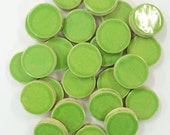 25 APPLE GREEN CIRCLE 1 inch Mosaic Tiles - High Fired - Non Textured