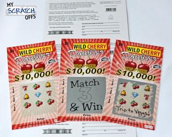 Scratch off lotto etsy diy scratch off lotto replica card red wild cherry design sciox Gallery