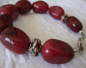 FREE SHIPPING Chunky Red Jade Stone and Sterling Silver Bracelet