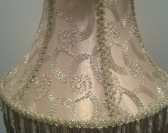 Handmade Lamp Shade with Gold Metallic Overlay and Fringe and Beads