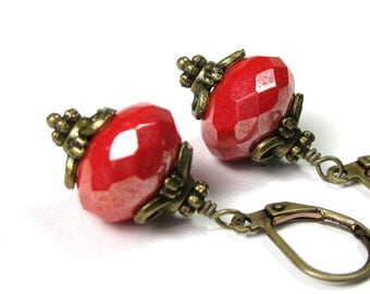 Red Victorian Style Earrings, Coral Red Czech Glass Antiqued Brass Dangle Earrings, Vintage Style Gift Ideas For Her Mom, Sexy Red Earrings