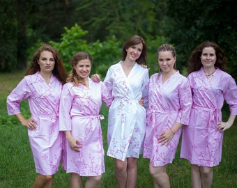 Pink Cherry Blossom Bridesmaids Robes. Bridesmaids gifts. Getting ready robes. Bridal Party Robes. Floral Robes. Dressing Gowns