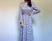 80s Ethnic Dress Long Sleeve Indian Print Day Dress Pockets Simple Fall Fashion Casual Midi Dress - Large L