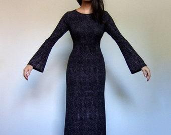90s Black Dress Silver Metallic Long Sleeve Maxi Fitted Long Bell Sleeve Dress - Medium M