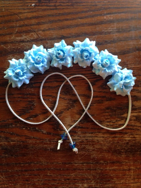 Powder Blue Flower Power Bohemian HeadBand - Flower Crown - Halo