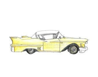 "Vintage Car - 8x10"" Watercolor Print - Classic Cadillac"