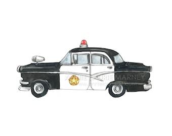 "Vintage Car - 8x10"" Watercolor Print - Classic Police Car"
